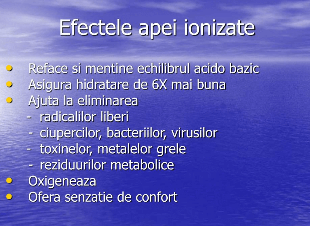 Beneficiile apei ionizate