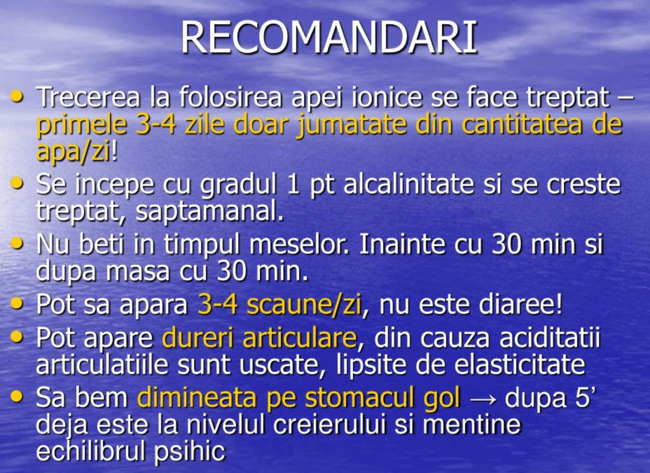 Recomandari apa alcalina